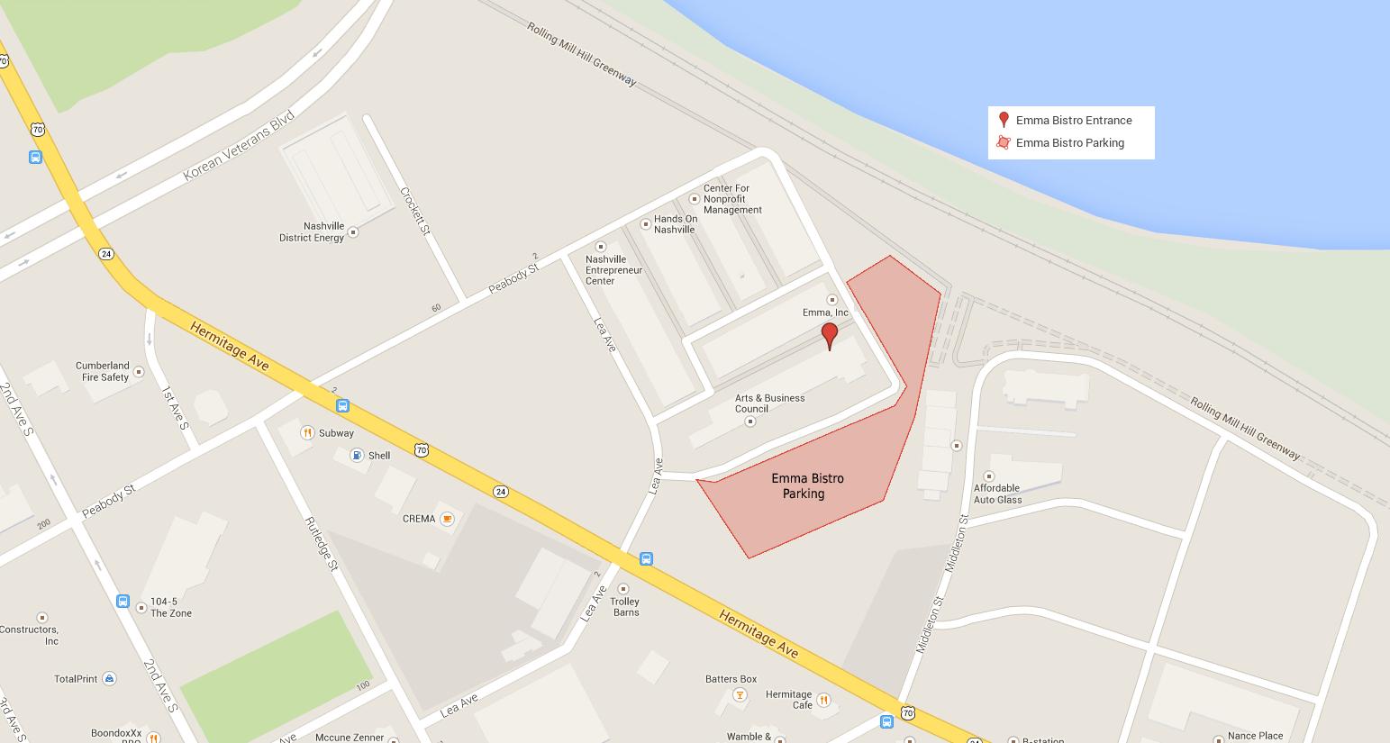 Emma Bistro Map - 11 Lea Avenue, Nashville, TN
